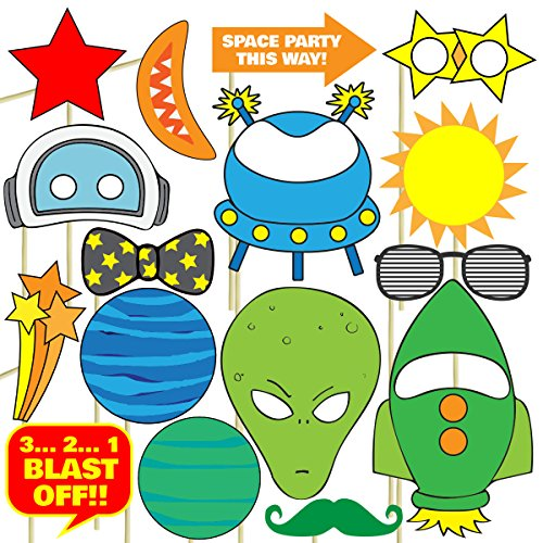 Space Photo Props (32 Pieces) for Photo Booths, Kids Birthdays, School Parties, Science Fairs and More! Our Space Photo Booth Party Favors are Pre-Made (Not DIY) for Your Convenience!