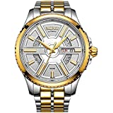 BUREI Men's Day and Date Automatic Watch with Gold Dial Stainless Steel Band