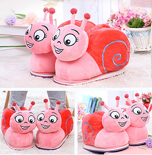 Cartoon Cute Snail Plush Slipper Winter Soft Indoor Shoes 26cm (pink)