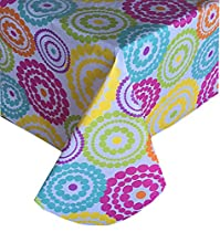 "Deco Dots Contemporary Indoor/Outdoor Flannel Backed Vinyl Tablecloth, 52"" x 70"" Oblong"