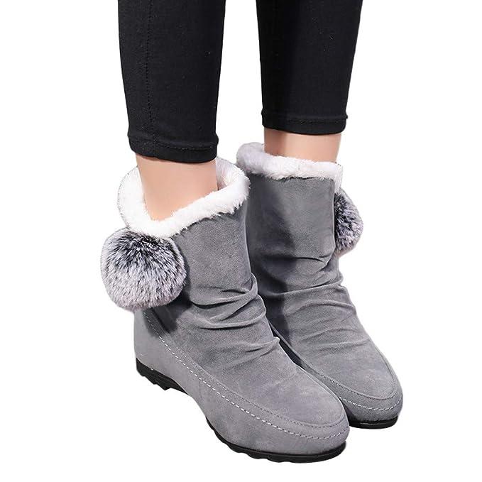 Botas para Mujer de Piel de Invierno, Zapatos de cuña con Punta Redonda