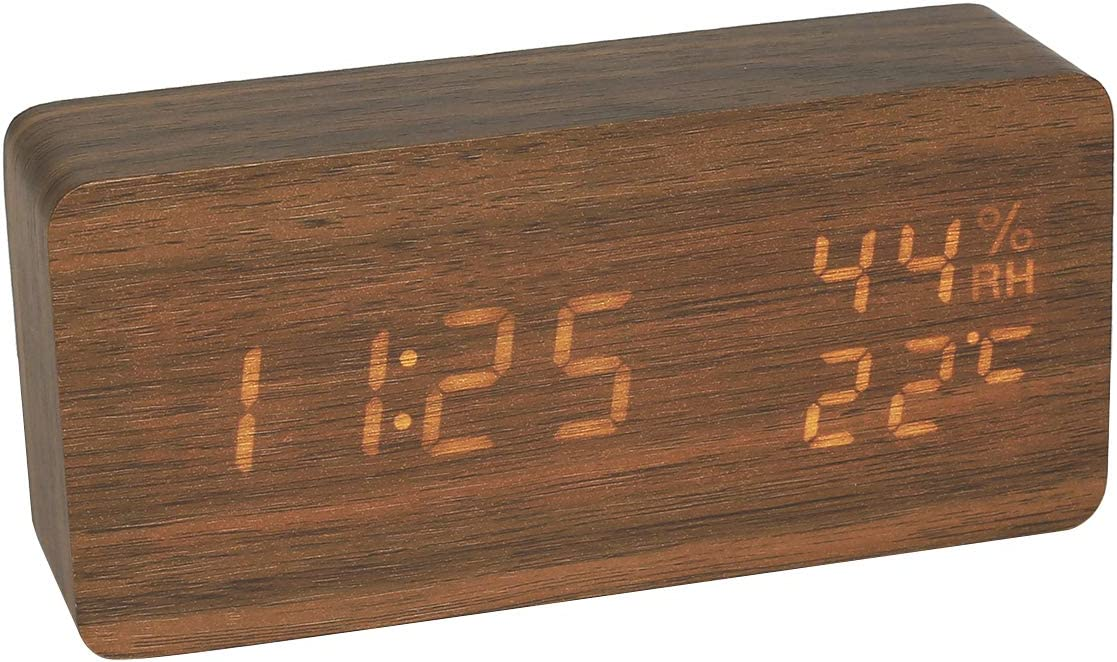 ROBOTIME Rectangle Wooden Digital Alarm Clock