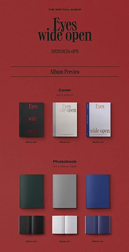 Incl. Pre-order Benefits : Most Card, Photocard Set, Folded Poster, Seller Gift : Random Twice Transparent Photocard Set Twice Eyes Wide Open 2nd Album Style version