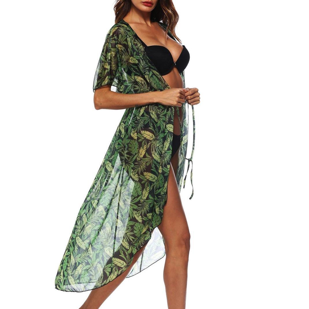 Mnyycxen Womens Coverup, Summer Womens Beach Wear Cover up Swimwear Bikini Lace Floral Long Maxi Beach Dress (L, Black)