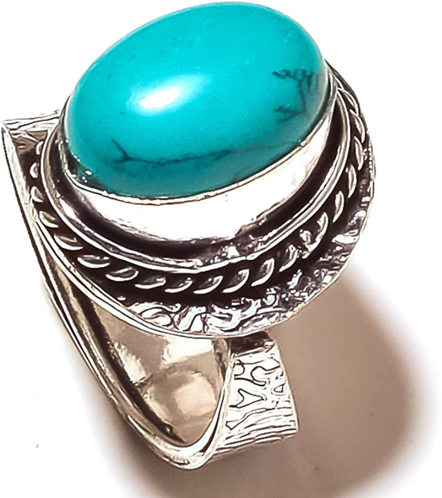 Inexpensive Green Malachite Sterling Silver Overlay Ring Size 8 US Handmade Jewelry