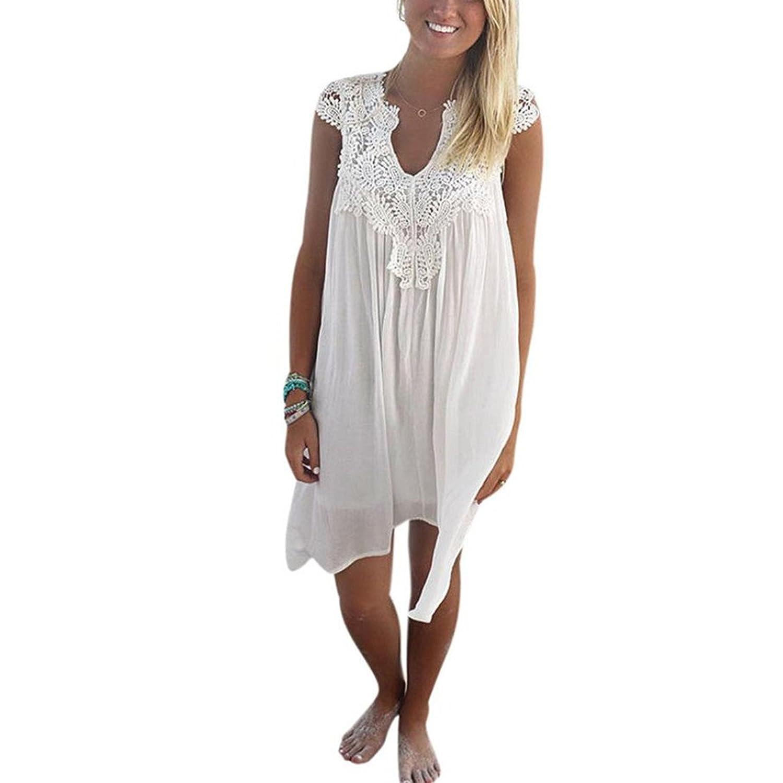 CLOOM Sommerkleid Strand Rock Lose Retro Dress Damen Mini Shirt ...