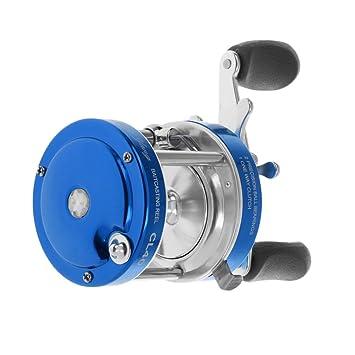Gazechimp 1pc Carrete de Pesca con 2 + 1 Rodamientos de Bolas Derecho Bastidor de Cebos Engranaje Principal Freno Mecánico Agarre Peces - Azul: Amazon.es: ...