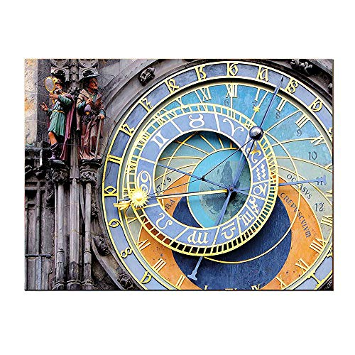 SATVSHOP Wall Art painting-60Lx32W-Clock Prague Astronomical Clock in The Old Town A Medieval Landmark of The City Blue and Yellow.Self-Adhesive backplane/Detachable Modern Decorative Art.