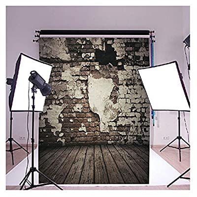 2-3 Business Days Fast Delivery Vinyl Cloth Mud Brick Lime Wooden Floor Studio Photo Photography Background Studio Backdrop Props best for Personal Photo, Wall Decor 5x7ft