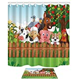 KOTOM Zoo Animal Decor Shower Curtain Set, Collection Farm Animals in the Farm Dog and Horse Cattle with Apple Tree, Bathroom Curtains 69X70 Inches Indoor Floor Flannel Mat Bath Rugs 60x40cm