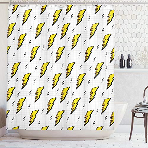 cor Collection, Retro Flash Electric Icons with Chequer Funky Lines Weather Batman Boom Pop Art Comic, Polyester Fabric Bathroom Shower Curtain, 75 Inches Long, White Yellow ()