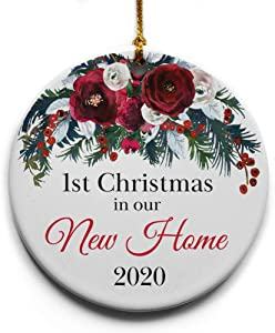 """1st Christmas In Our New Home Ceramic Christmas Tree Ornament Collectible Holiday Keepsake 2.875"""" round ornament in decorative gift box with bow- Perfect housewarming gifts for new home!"""