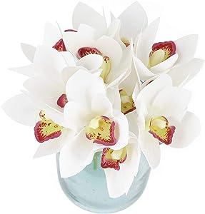 Blooming Paradise 12pcs Real Touch Artificial Fake Plants Silk Cymbidium Orchid Flowers Arrangements Wedding Bouquets Decorations Plastic Floral Table Centerpieces Home Kitchen Garden Party White