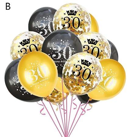 15pcs 12 Pulgadas 18 30 60 años Globos Cumpleaños Negro y ...