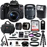 Canon EOS Rebel T6i Digital SLR w/EF-S 18-55mm f/3.5-5.6 IS STM Lens + 58mm Wide Angle Lens + 58mm Telephoto Lens + Flash + 32GB SDHC Memory Card + 3pc Filter Kit + Wireless Remote Control + Bundle