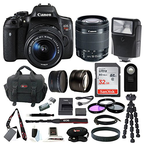 Canon EOS Rebel T6i Digital SLR w/ EF-S 18-55mm f/3.5-5.6 IS STM Lens + 58mm Wide Angle Lens + 58mm Telephoto Lens + Flash + 32GB SDHC Memory Card + 3pc Filter Kit + Wireless Remote Control + Bundle (Sdhc Card Bundle)