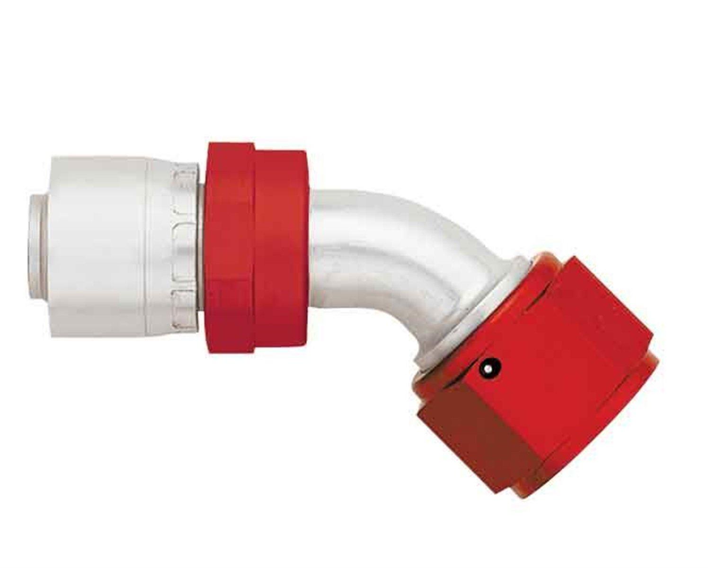 Aeroquip FBM4225 AQP Hose Fitting -12AN Hose Size 45 deg. Elbow Swivel Lightweight Red/Silver Bulk Packaged AQP Hose Fitting