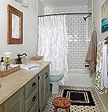 Volens White Ruffle Shower Curtain Farmhouse Fabric Cloth Shower Curtains for Bathroom, 72x72 in Long