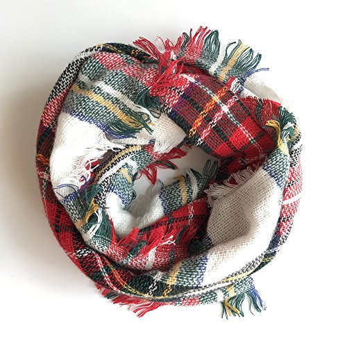Plaid Infinity Scarf Women's Wrapables Tartan Cashmere Scarves Blanket Wrap Shawl by Brilanter