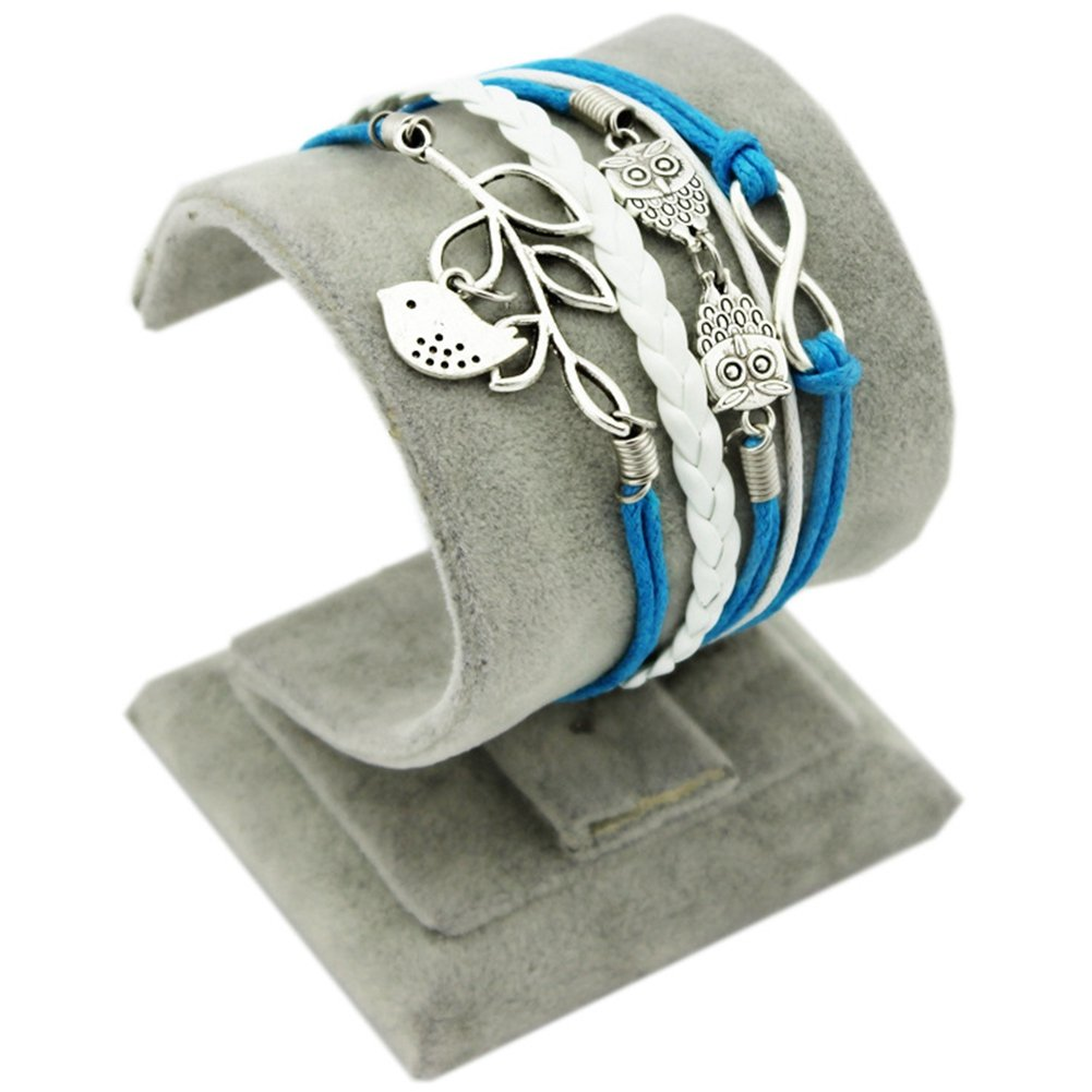 Soyagift Manual tree leaves Bird Owls Charms Infinity Leather Braid Rope Bracelet