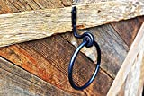 Towel Ring- Wrought Iron - Rustic hand towel ring - Wall mount - Black - Handmade