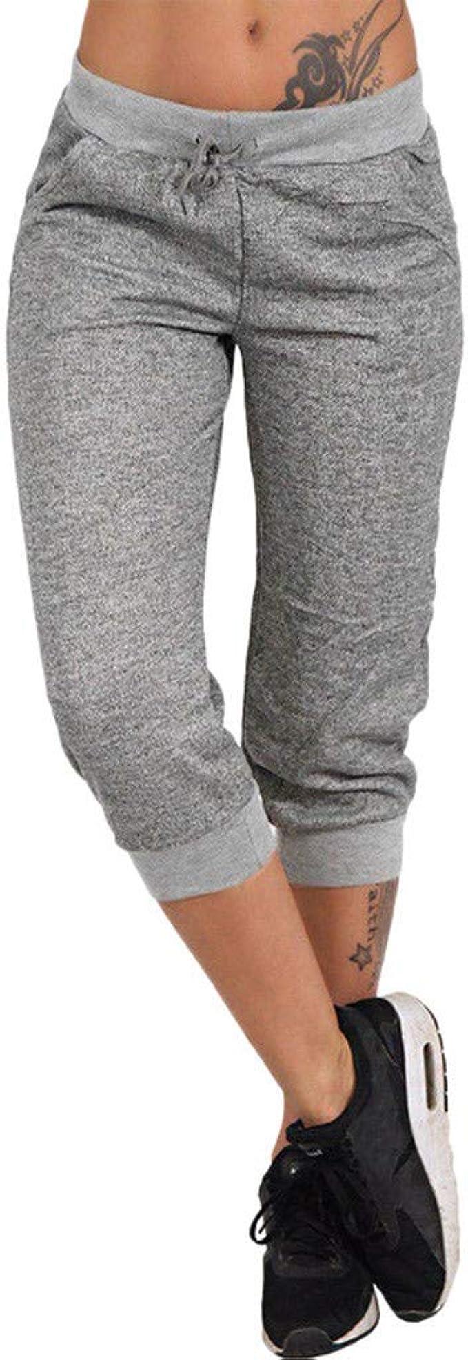 RISTHY 3/4 Pantalones Deporte Yoga Mujer Leggins Leotardos Capri Pantalón Pirata Deportiva Pantalones Algodón Ropa Deportiva Mujer con Cordón para Correr Running Yoga: Amazon.es: Ropa y accesorios