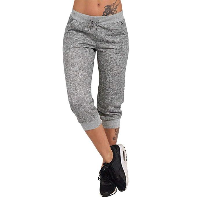 RISTHY 3/4 Pantalones Deporte Yoga Mujer Leggins Leotardos Capri Pantalón Pirata Deportiva Pantalones Algodón Ropa Deportiva Mujer con Cordón para ...