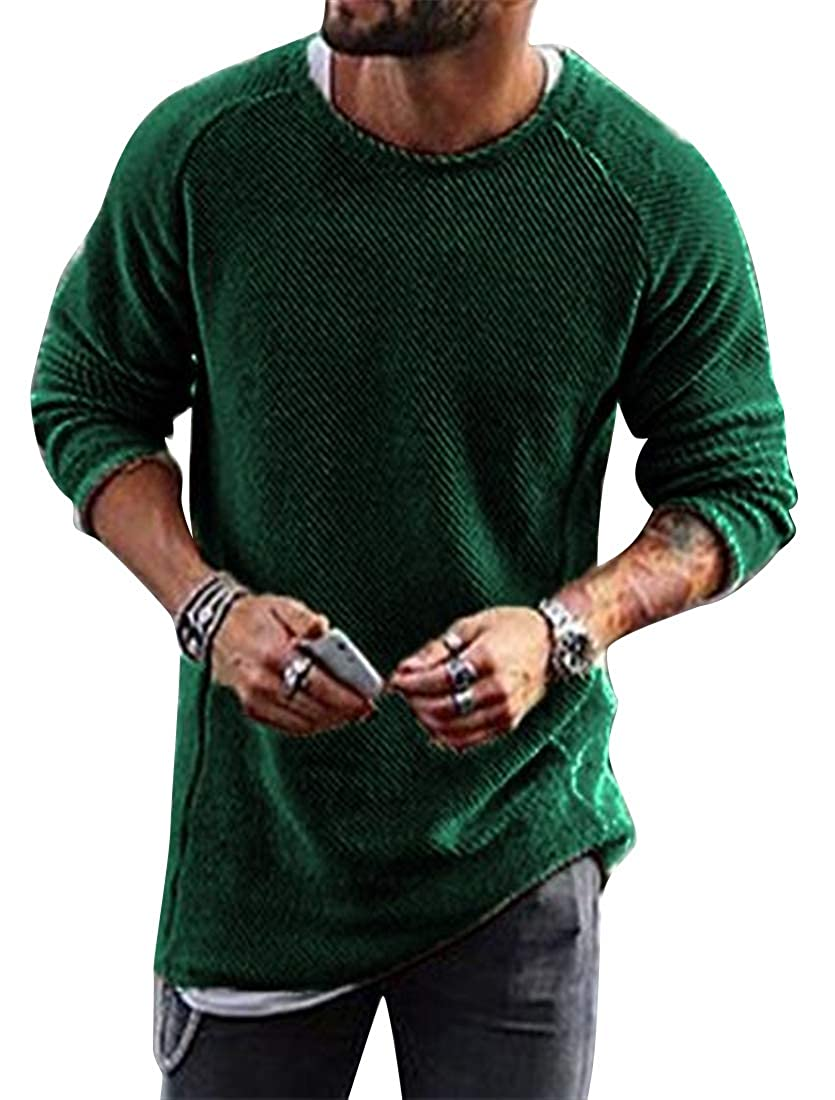 Jofemuho Mens Crew Neck Casual Solid Color Long Sleeve Knit Pullover Sweater Jumper