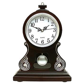 Relojes de mesa para la Sala de Estar Decoración Dormitorio Reloj de Escritorio Vintage A Pilas Péndulo analógico Sin tictac Estilo Europeo silencioso Retro ...