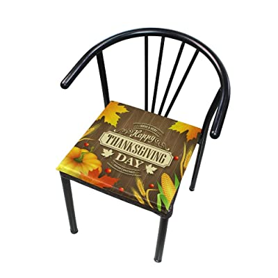 """Bardic HNTGHX Outdoor/Indoor Chair Cushion Thanksgiving Pumpkin Pattern Square Memory Foam Seat Pads Cushion for Patio Dining, 16"""" x 16"""": Home & Kitchen"""