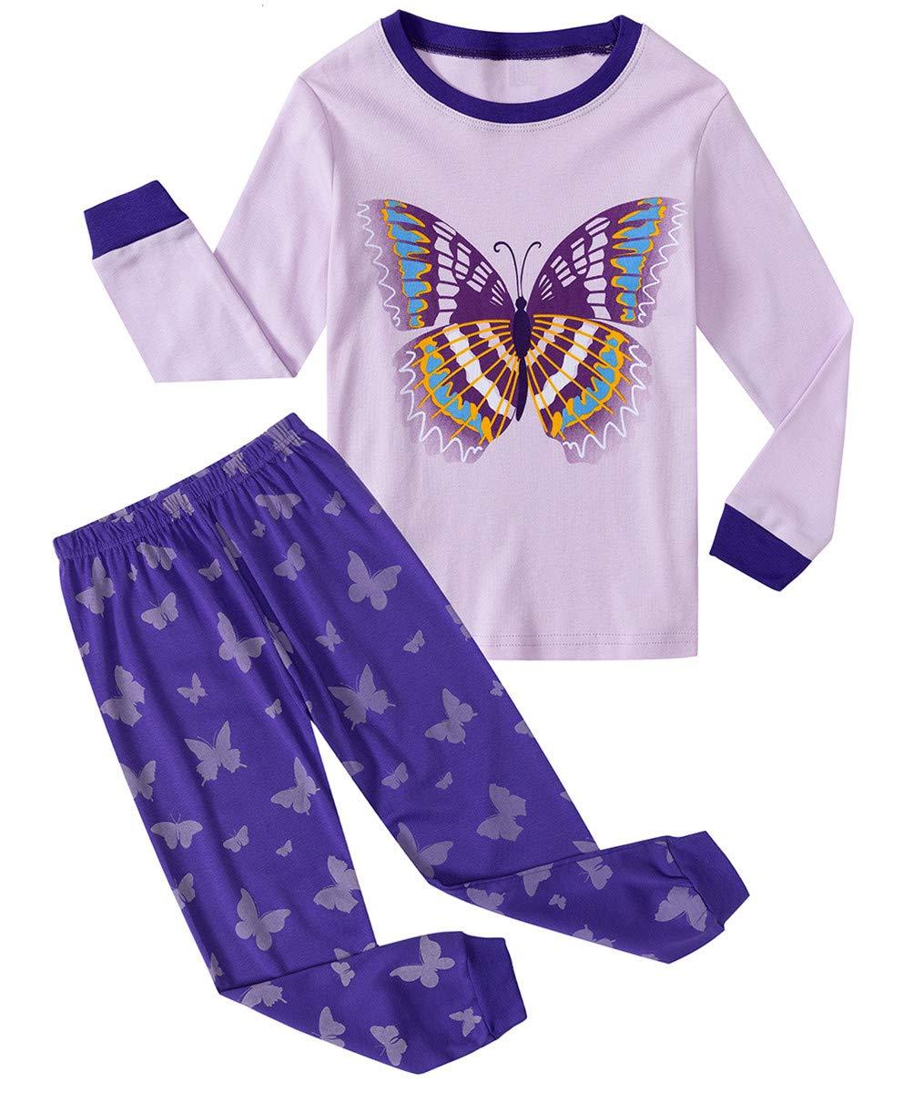 Garsmiss Little Girls Pajamas Toddler Cat Sleepwear Cotton 2 Piece pjs Owl Kid PJ Set
