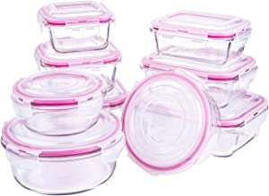 Shayne Glass Food Storage Containers with Lids, 9 sets Glass Meal Prep Containers, BPA-Free, Leak Proof and Airtight, Oven/Dishwasher/Microwave/Freezer Safe