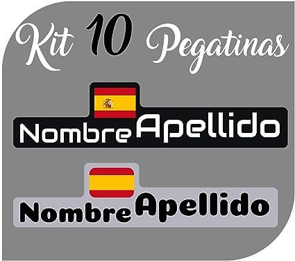 Kit 10 Pegatinas Vinilo Bandera España + tu Nombre - Bici, Casco, Pala De Padel, Monopatin, Coche, Moto, etc. Kit de Diez Vinilos (Pack Fuentes 1): Amazon.es: Coche y moto