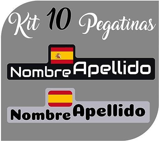 Kit 10 Pegatinas Vinilo Bandera España + tu Nombre - Bici, Casco ...