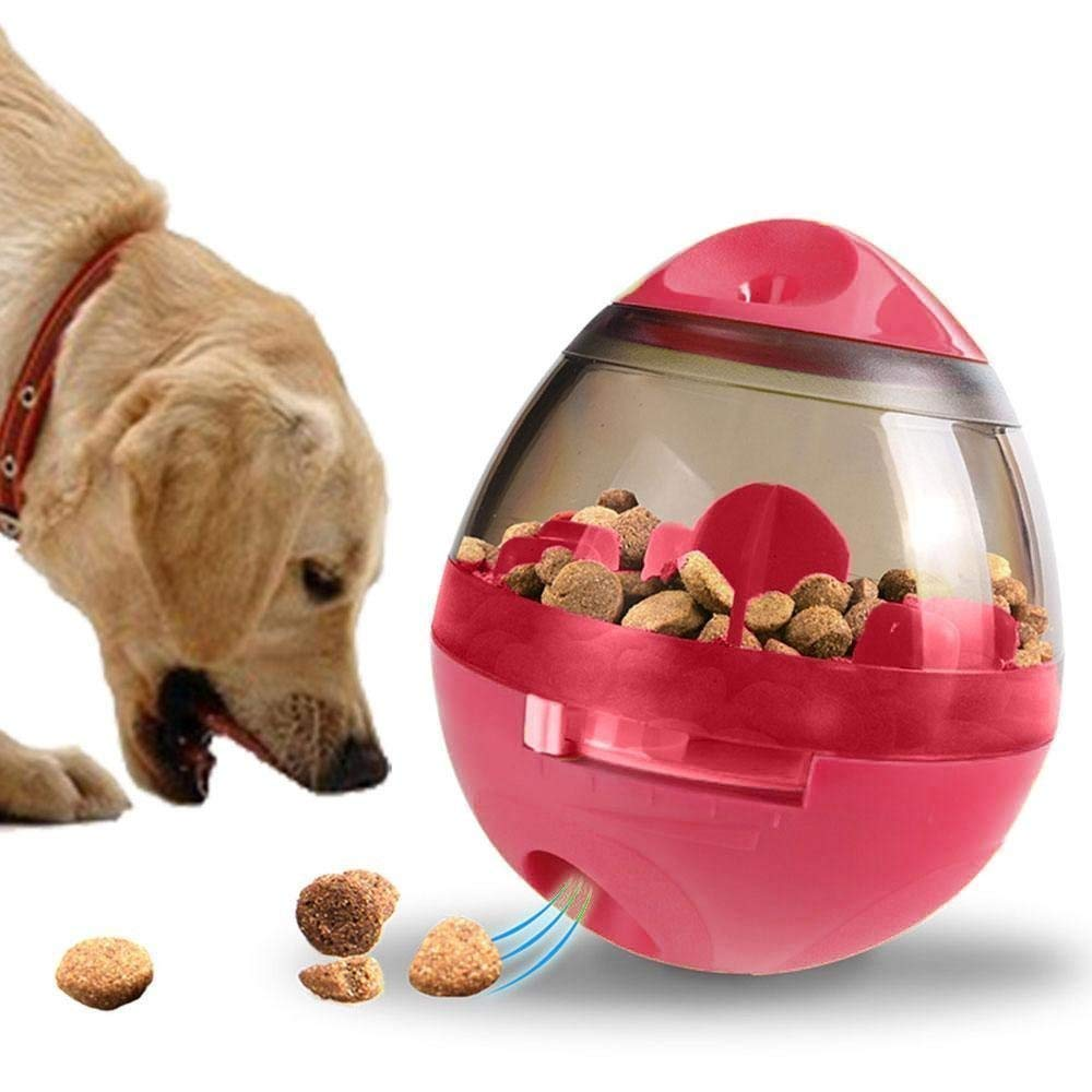 Red Pet Food Ball Interactive Dog Toy Treating Dog and Cat Dispenser Tumbler Pet Food Ball Foraging Toy,Red