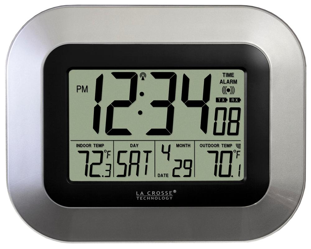 La Crosse Technology Atomic Digital Wall Clock With Indoor Outdoor