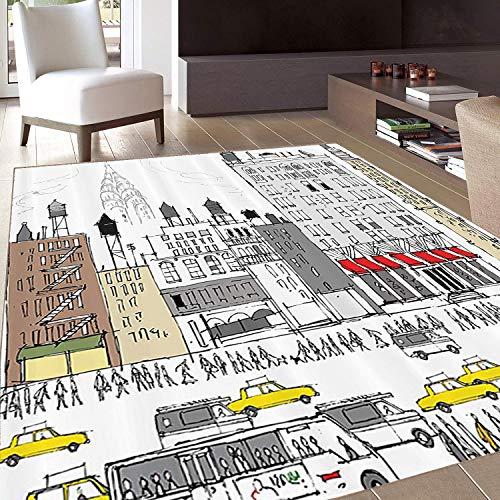 - Rug,FloorMatRug,Hippie Boho Americana,AreaRug,Busy City Traffic Jam Yellow Taxi Cab Urban Cartoon Design Modern Style for Art Prints,Home mat,5'8