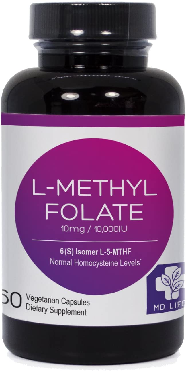 Save MD.LIFE L-Methyl Folate 5-MTHF 10 mg 60 Capsules Metabolically Active Form of Folic Acid Scientifically Formulated B Vitamin Blend with B12, B9, Niacin, B1, B2 and B6 Compare to Methyl Pro