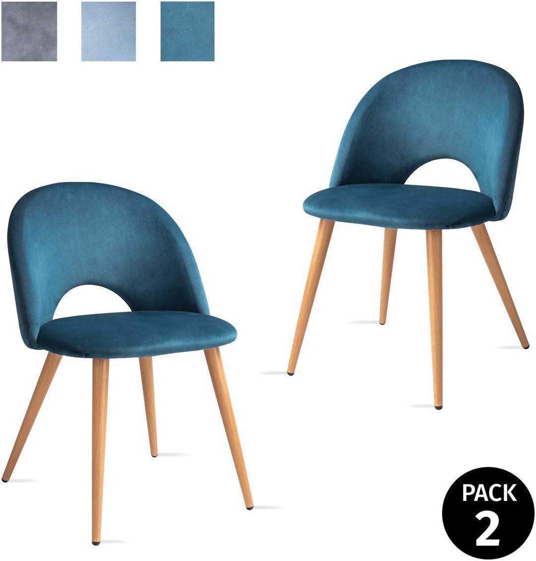 Mc Haus LUNA - Pack 2 Sillas Nórdicas Comedor Tapizadas en tela Azul cielo, Butaca Salón Dormitorio Respaldo con apertura y Asiento Acolchados y patas de metal efecto Madera 49x46x76cm: Amazon.es: Juguetes