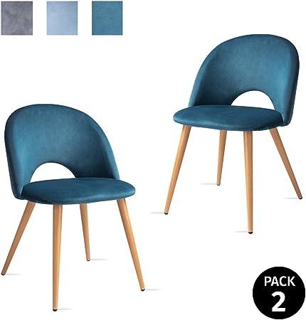 Mc Haus LUNA Lot de 2 chaises salle à manger style nordique fauteuil salon siège rembourré en tissu couleur bleu ciel et pieds en métal à effet bois