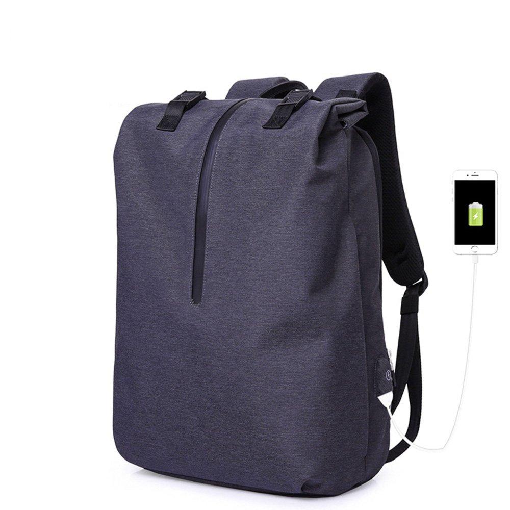 MIMI KING Mochila Para Hombres Ocio Bolsa Ordenador Portátil USB Con Puerto De Carga USB Portátil Tendencia Simple Gran Capacidad Para Viajes Empresa Mango 16 Pulgadas,Negro f9bdca