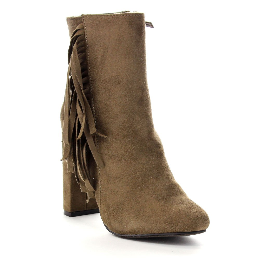 Size:9 Breckelles LISA-12 Womens Elegant Fringe Chunky Heel High Top Ankle Booties Color:TAUPE