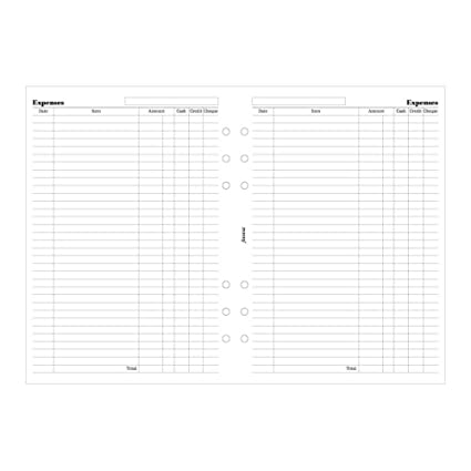 filofax a5 expense sheets b340605