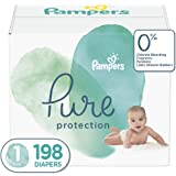 Diapers Size 1, 198 Count - Pampers Pure Protection Disposable Baby Diapers, Hypoallergenic and Unscented Protection, ONE Month Supply