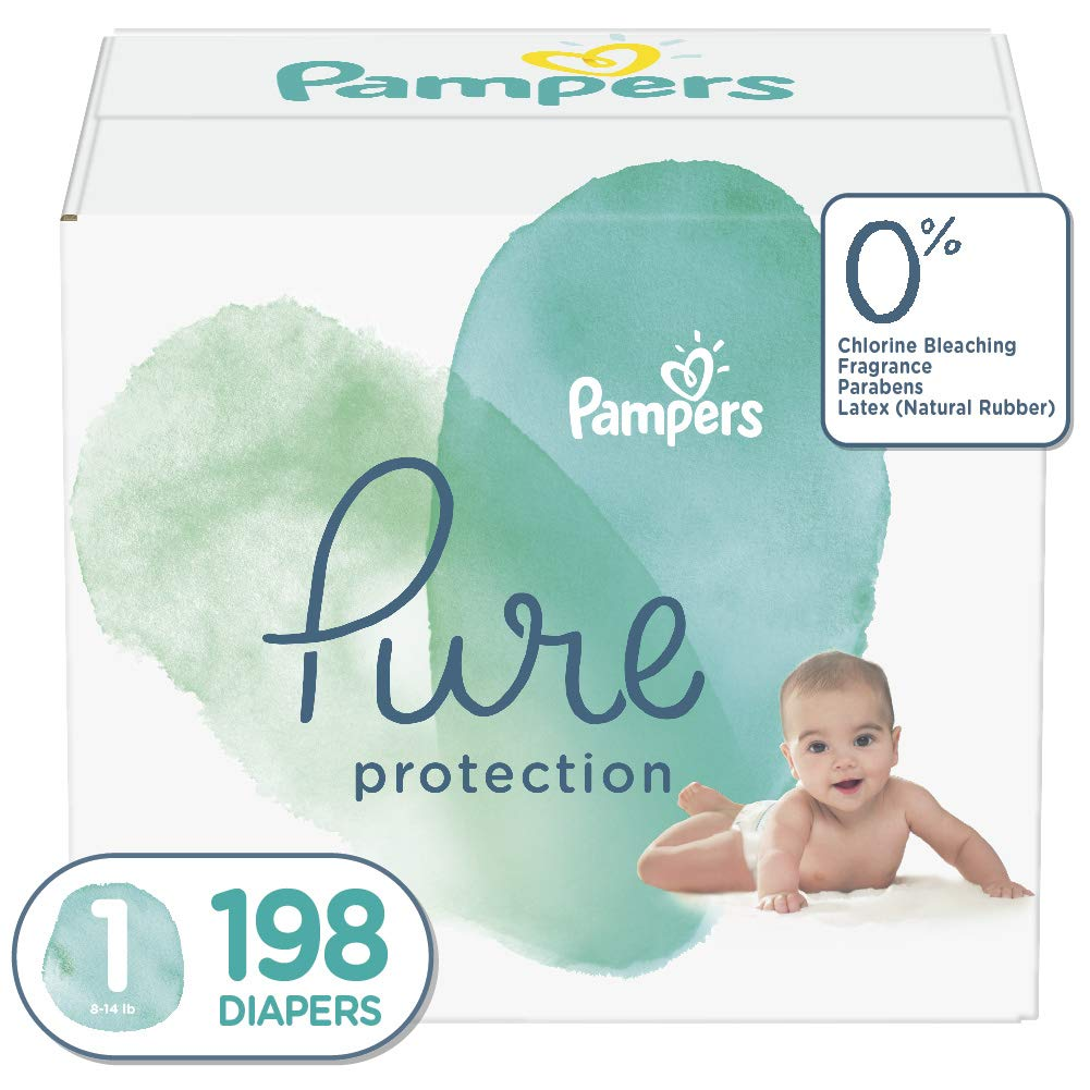 Pampers Pure Disposable Baby Diapers, Hypoallergenic and Unscented Protection, ONE MONTH SUPPLY