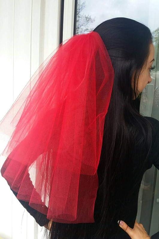Lydia Deetz Halloween costume veil Halloween party Veil 2-tier red long length Bachelorette veil Halloween night Halloween costume idea