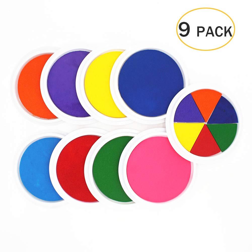 Craft Large Ink Pad Stamps Partner DIY Color, Washable Rainbow Finger Ink Pad for Fingerprints Birth Footprint Rubber Stamps for Office Usage Kids Gift (Set of 9) ...