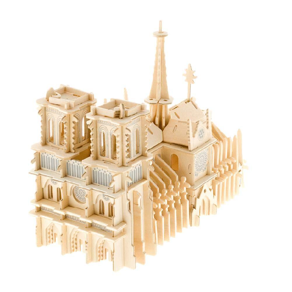 Adultos AUTOECHO Notre Dame de Paris 3D Puzzle de Madera Modelo 3D Rompecabezas Ensamblado de Madera Modelo de simulaci/ón de Bricolaje Juguetes de ensamblaje de Rompecabezas para ni/ños