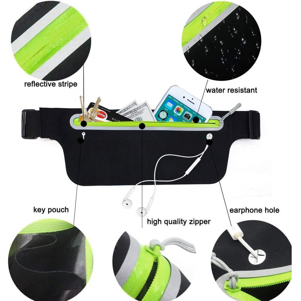 Dingcheng - Cinturón de Running con Cremallera y Orificio para Auriculares para Mujeres y Hombres para iPhone 6 Plus/7 Plus/8 Plus/X Samsung S8 Resistente ...