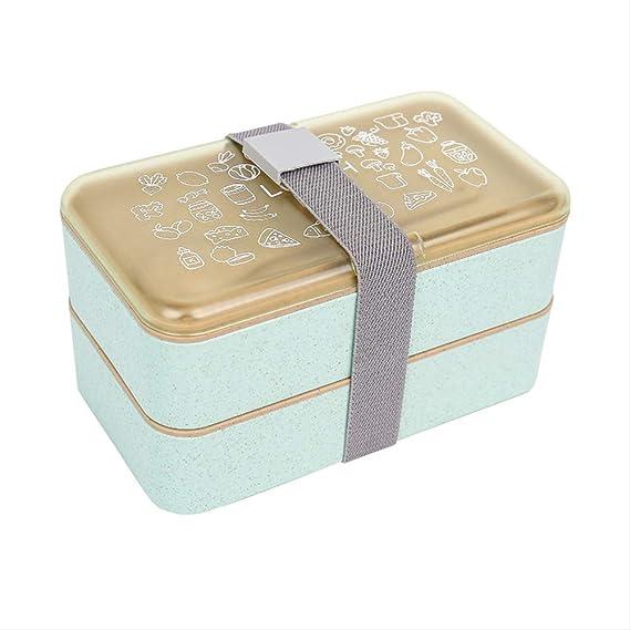 RQWY Caja de almuerzoDoble filamento Trigo Desayuno Caja Aislamiento térmico con microondas Bolsa de contenedor de alimentos con compartimentos: Amazon.es: Hogar